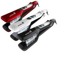 Professional Steam Hair Straightener Flat Iron PTC Heating Fast Steam Straightening Irons LCD Hair Care Styling Tools