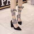US5-8.5 New Style women high heels Lace-Up Pointed Toe Stiletto ladies celebrity PU Suede Leather woman shoes Pumps Black