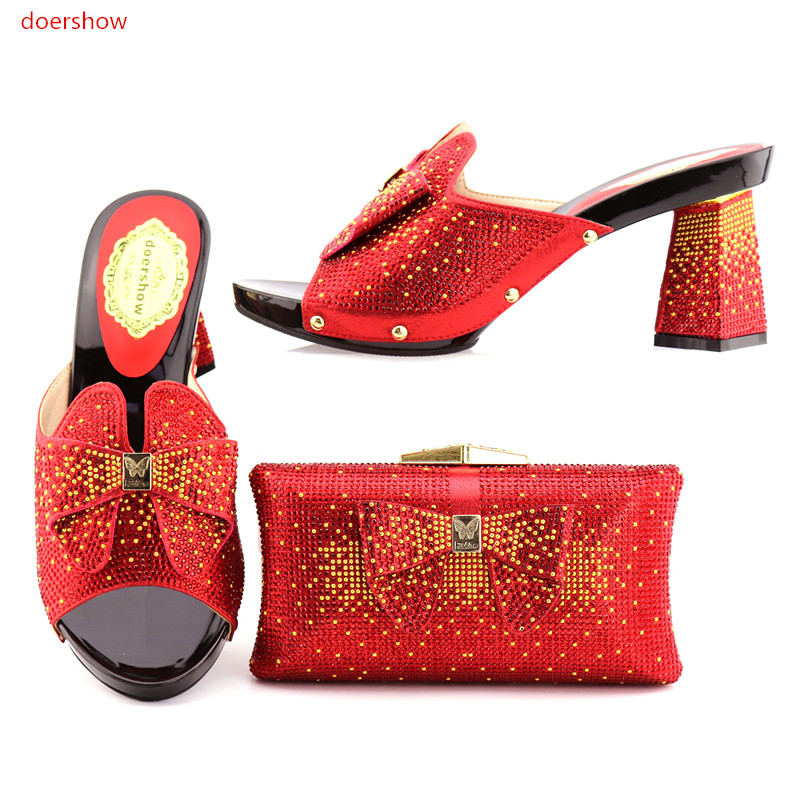 doershow New Design Shoes And Bag Set African Style High Heels Shoes And Bags Set For Woman Party Size 38-42 KGB1-4 high quality african shoes and matching bag set summer style woman high heels shoes and bag set for party size 38 43 mm1030