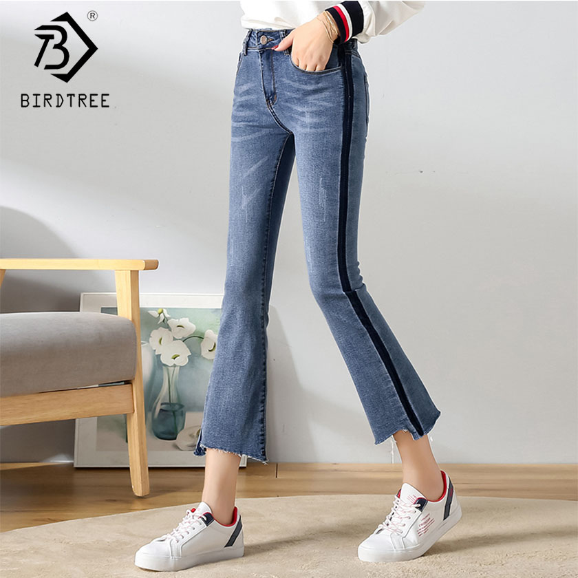 Bottoms 2019 Womens High Waist Ripped Pockets Jeans Denim Pants Blue Button Ankle Length Wide Leg Holes Pants Spring Hot Sales B91202j Jeans