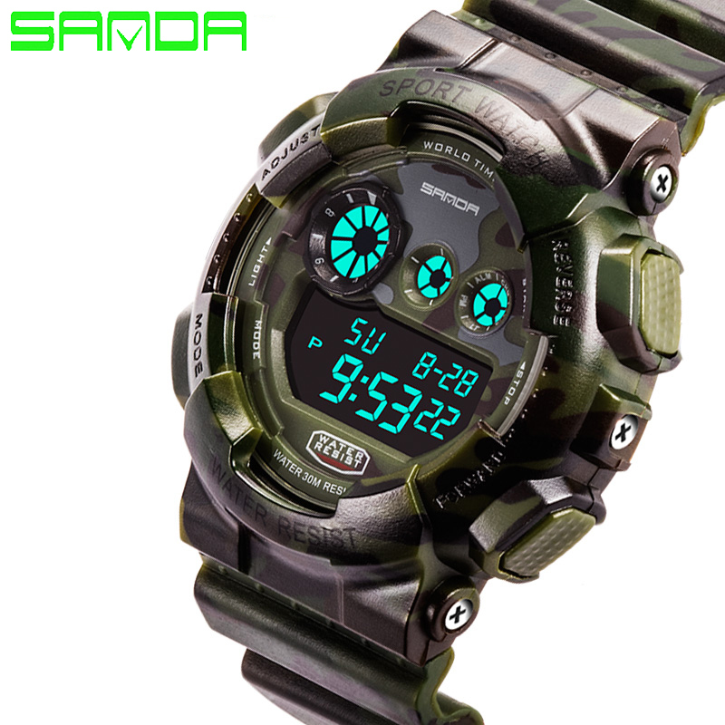 New Hot Sale Sanda Fashion Casual Watch Men Military Waterproof Luxury Sports Digital Male Wrist Watches