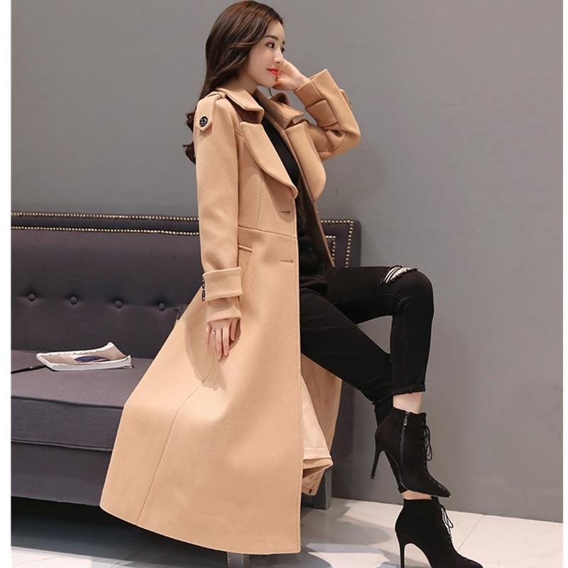 Genou De Sur Femme Superbe camel Red Le caramel Hiver black Mode Épaissir Manteaux Chaud Automne Manteau Colour Femmes Laine Long W120 Rouge Veste 6q8AwC