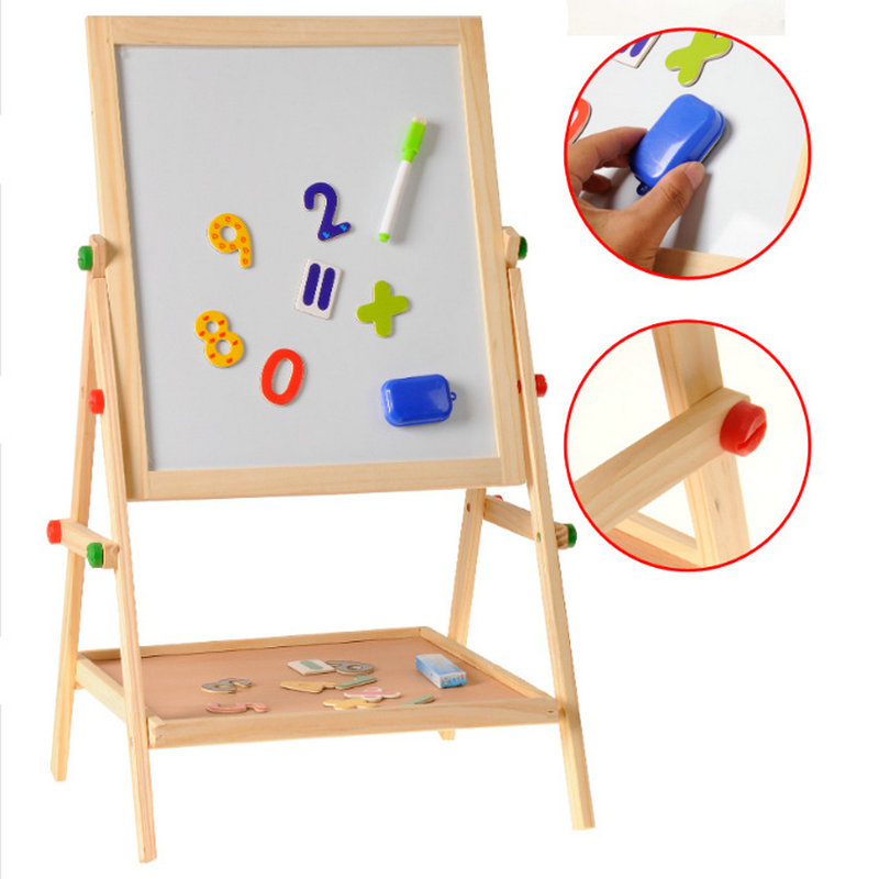 Free shipping Children/Kids double-sided magnetic blackboard, Wooden drawing board scaffolding tablet educational toys