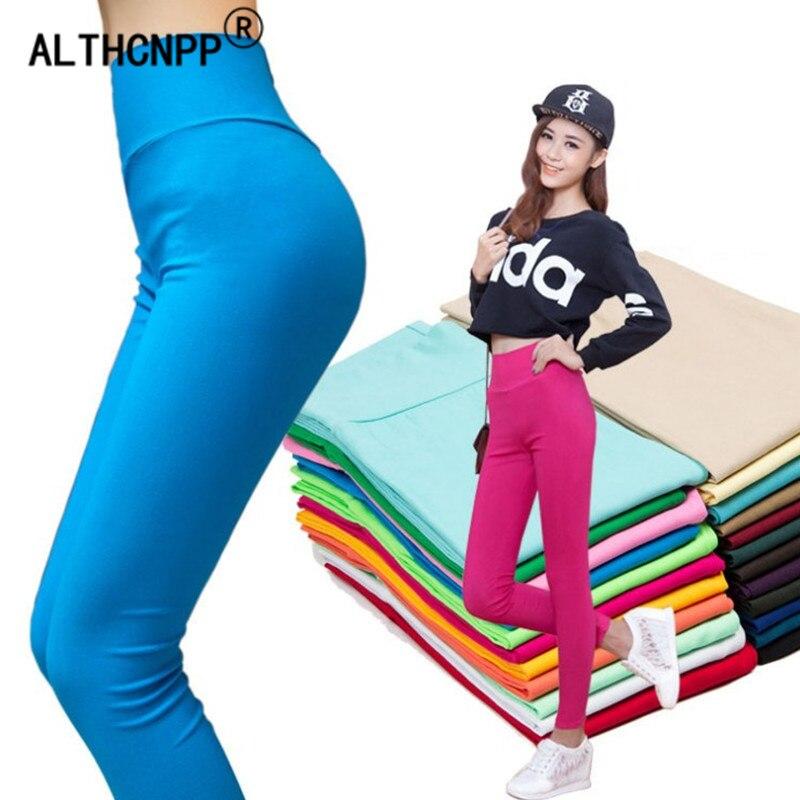 Summer Women   Leggings   Plus Size S-6XL Fashion Candy Color Thin High Waist Stretch Pencil Pants Leggins Leginsy Damskie