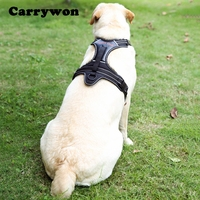 Carrywon Large Dog Black Harnesses Cool PU Leather Joint Durable Chest Straps Car Safety Belt Harness