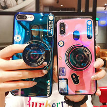 For IPhone X 6 8Plus 7Plus Case Luxury 3D Camera Blue Ray Phone Cover with Ring Accessories Fitted