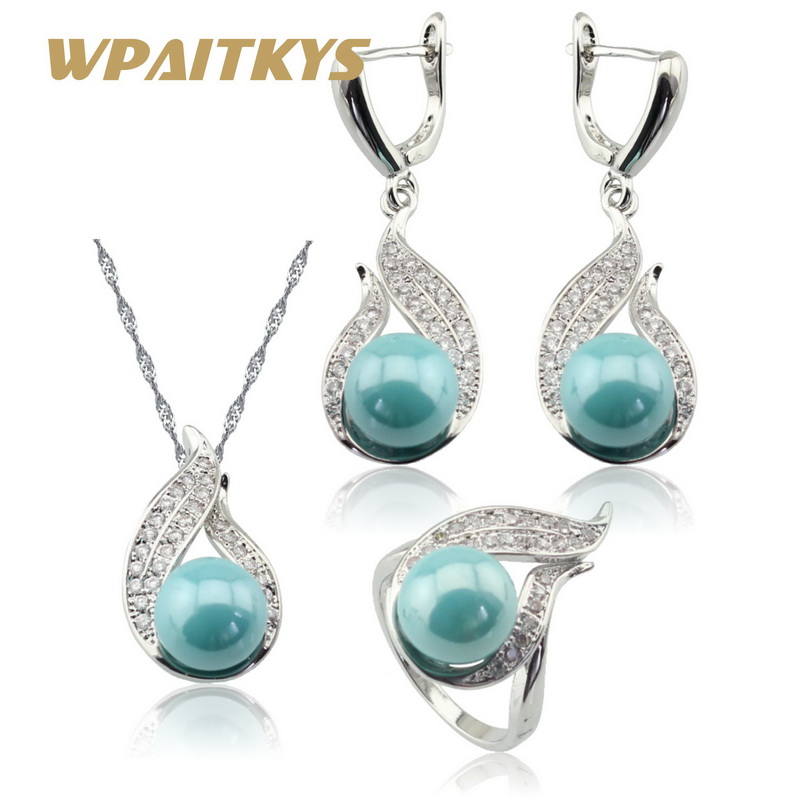 light blue simulated pearl white cz silver color jewelry