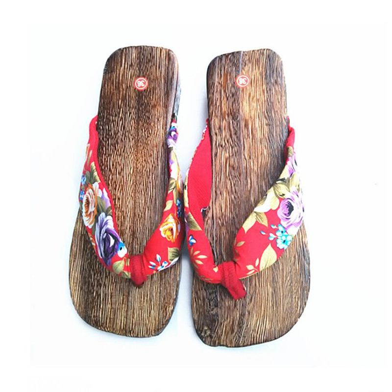 Sale Women Japanese Geta Summer Platform Flip Flops Printed Women's Wood Slides Cosplay Costume Cork Slippers Sandals XK042007