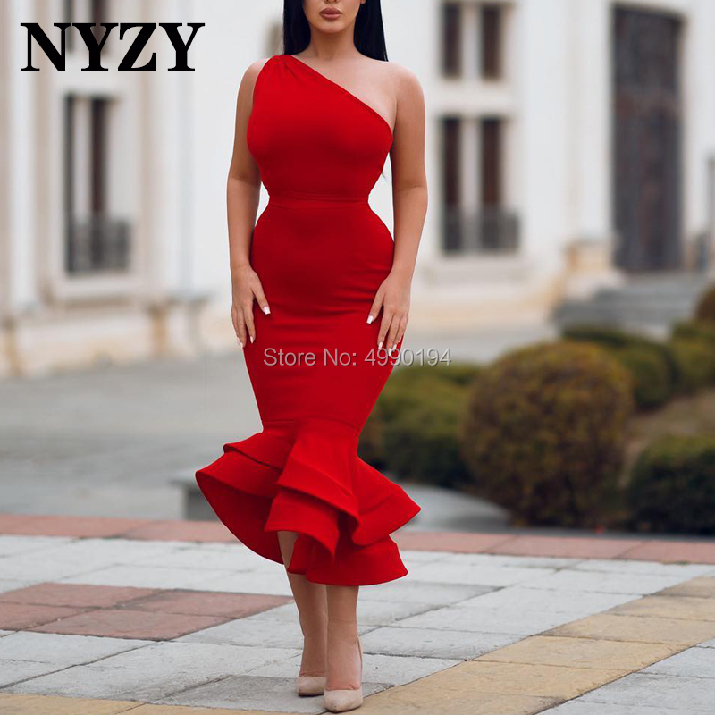 NYZY C119 Mermaid Red   Cocktail     Dress   for Wedding Party Evening Graduation Homecoming robe de soiree vestidos coctel 2019