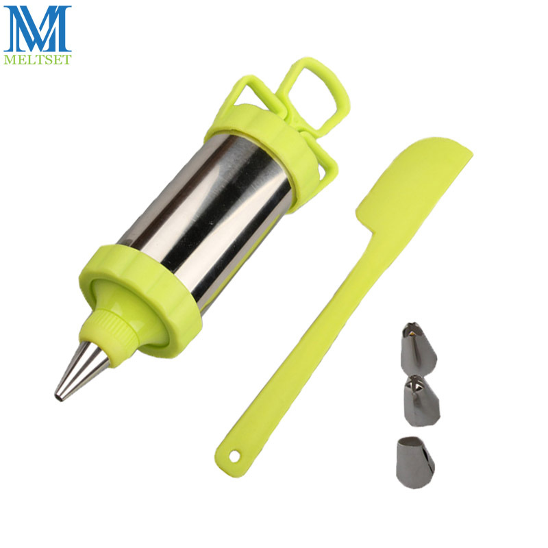 Meltset Pastry Tool Stainless Steel Cake Nozzle Icing Piping Cream Syringe Tips Cake Decorating Piping Pen With Silicone Spatula