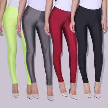 CUHAKCI Female Pants Leggins Women Slim Spandex Leggings Solid Candy Color Neon Leggings Skinny High Elastic