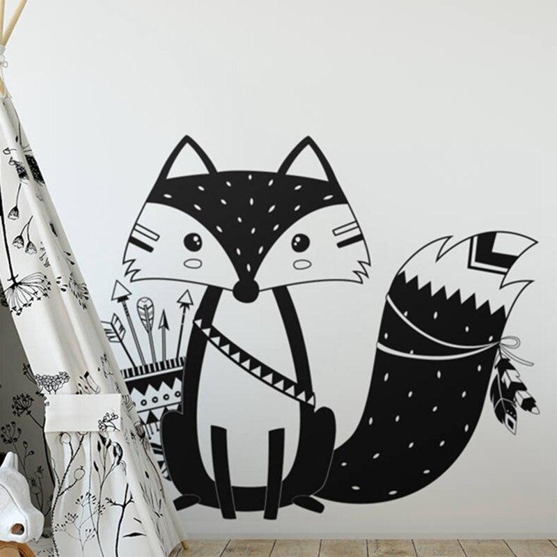 God Tribal Fox Wall Decal Cute Woodland Fox Wall Sticker