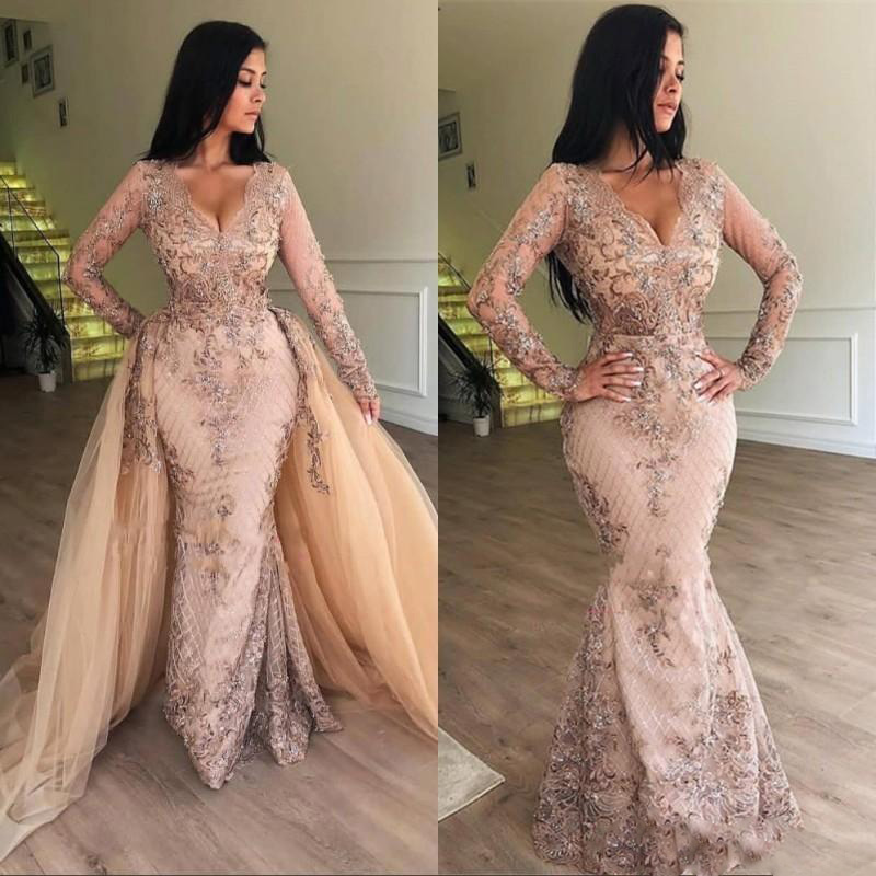 Chic Pink Mermaid Prom Dresses With Detachable Skirt V-Neck Long Sleeve Evening Dress 2019 Ruffles Appliques Party Gowns
