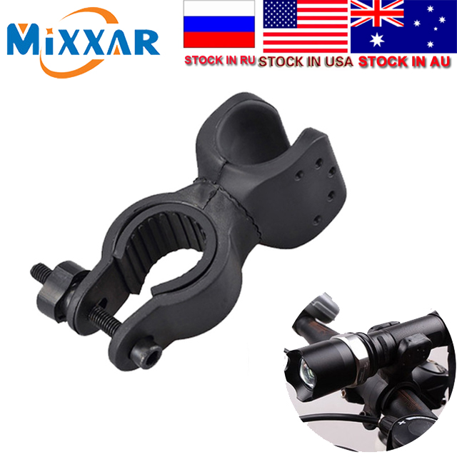 ZK30 Dropshipping Led Bicycle Lights Torch Clip Clamp Universal 360 Swivel Bicycle Bike LED Flashlight Mount Bracket Holder