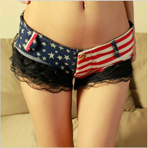 2017 Newest 1PC Sexy Women Shorts American US Flag Printed Mini Jeans Pants Denim Low Waist