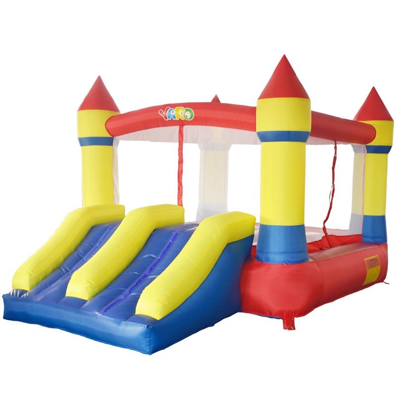 ヤード子供インフレータブル弾む城トランポリン両面プレイハウスで送風機ギフトpeボールインフレータブルバウンサー屋外