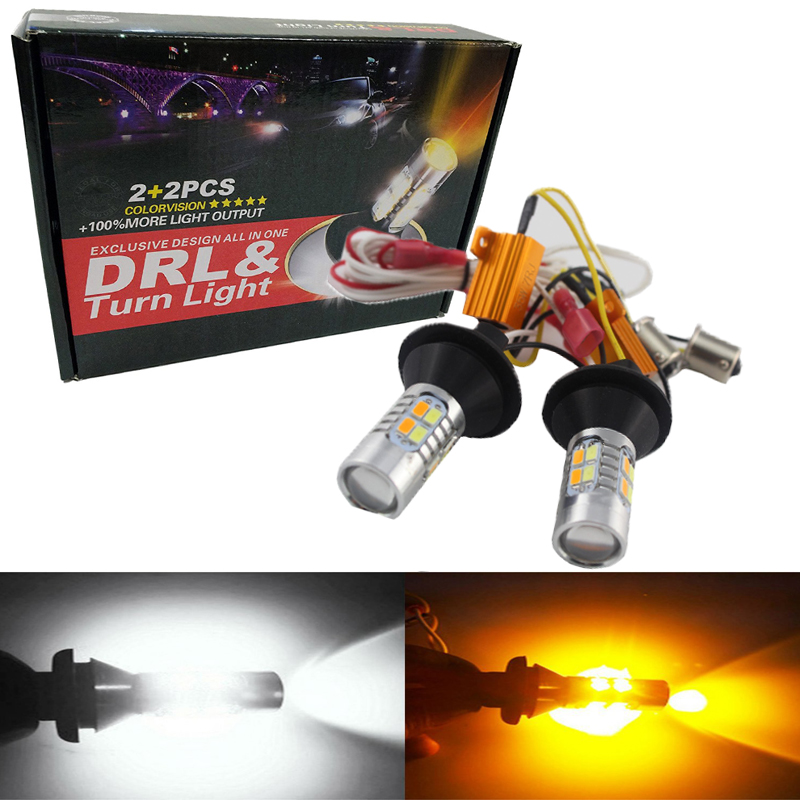 Super Bright 1Set 1156 P21W BA15S 5730 20 SMD Hvid / rav LED-lyspærer Kit Car Turn Led Signal Head Light S25 Dual Colour