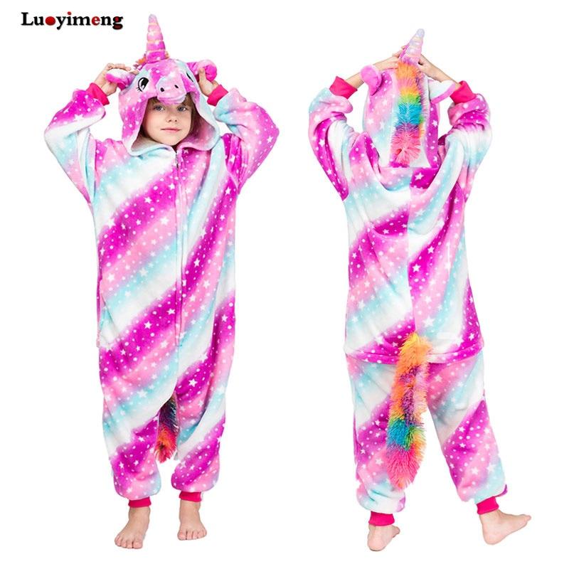 Cartoon Anime Onesie Pajamas For Boys Girls Unicorn Pikachu Baby Home Costume Boys Sleepwear Jumpsuit Licorne Winter Kids Pyjama