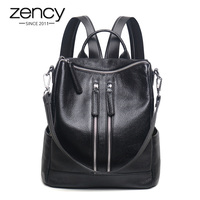 3 Way New Zipper Designer Fashion Genuine Leather Women Backpack Ladies Shoulder Bags Girl School Bag