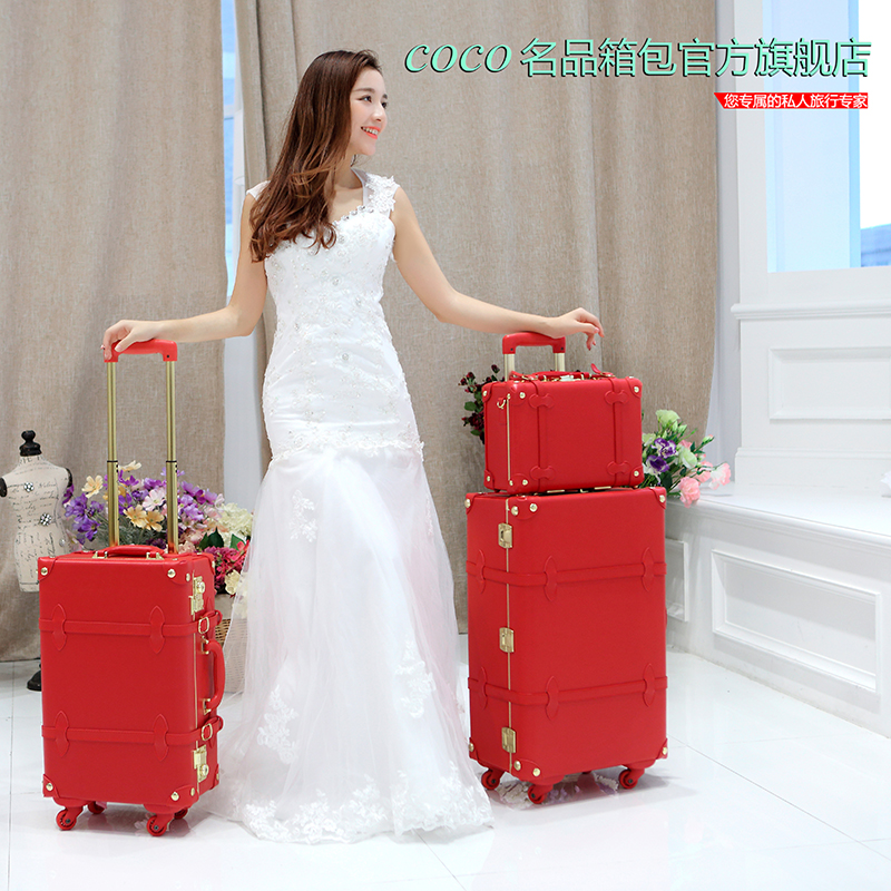 14 20 24 full red leather bride married luggage sets,golden hardware high quality vintage trunk luggage bags on universal wheels