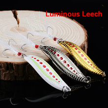 Hot Sale 3pcs / lot Metal VIB 5g / 7g / 10g / 15g / 20g Lysende Leech Spinner Spoon Offshore Angling Hårde Baits Night Fishing Lure