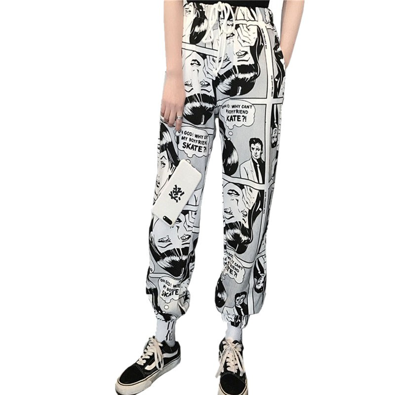 Stylish Cartoon Print Drawstring Pants Elastic Waist Hip Hop Long Pants Women Harajuku High Waist Casual Trousers