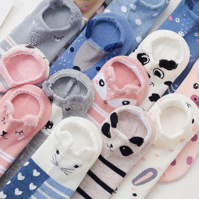 women cotton socks stereoscopic Cute Animal Female Kawaii Cat With Dog Summer Short Socks Women Casual Soft Funny Socks 3