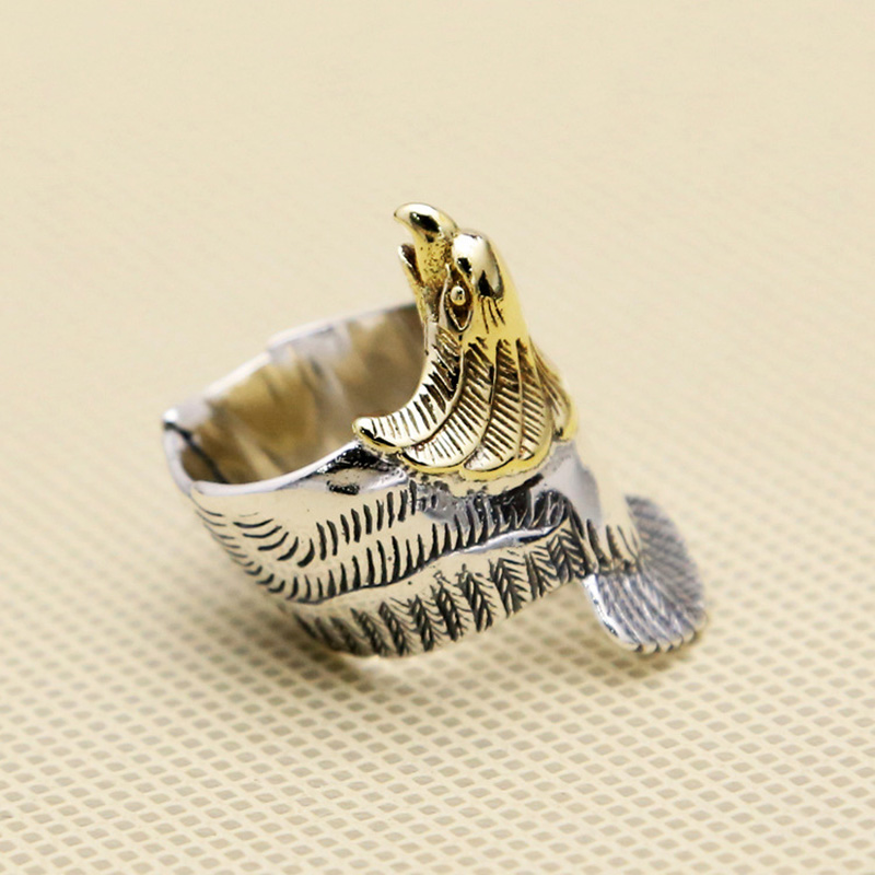 925 Sterling Silver Goro's Ring Golden Eagle Head Golden Eagle Head Fashion Diy Rings Man Women Fashion Jewelry GQR031