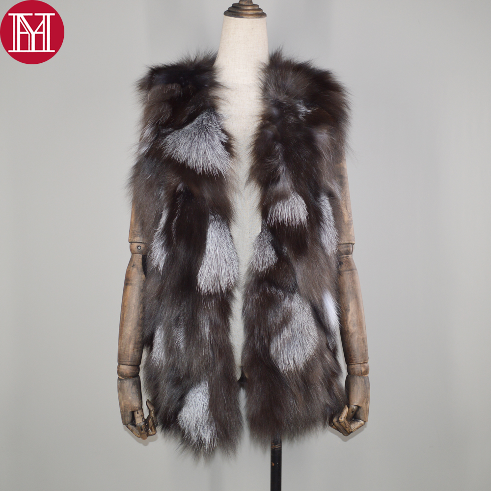 hot sale women autumn winter genuine real sliver fox fur vest 100 real natural fox fur