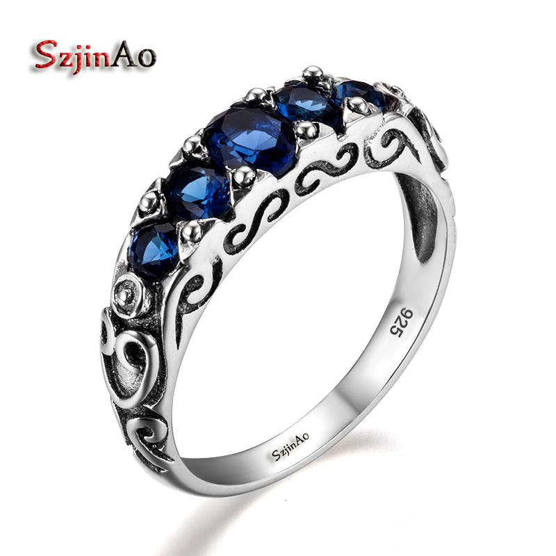 Szjinao Women Art Deco 925 Sterling Silver Dark Sapphire Ring For Gift Party Wedding September Birthstone Ring Palace Wind