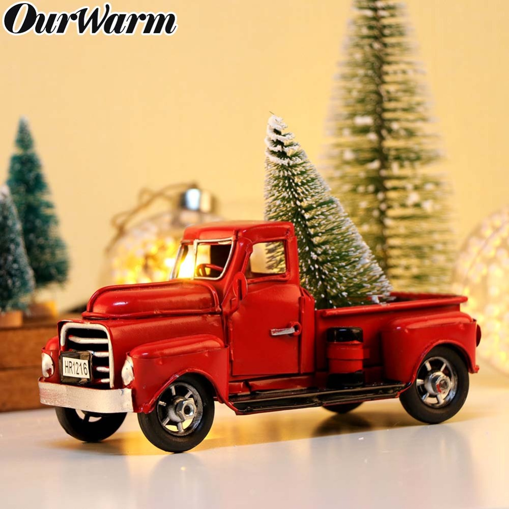 OurWarm Red Metal Vehicle Antique Car Vintage Classic Truck For Home Miniature Christmas