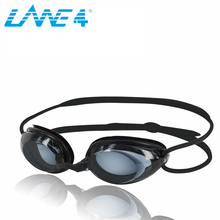 LANE4 Optical Swim Goggle Hydrodynamic Profile Frame Silicone Seals Anti-fog UV Protection for Adults BLACK #2195