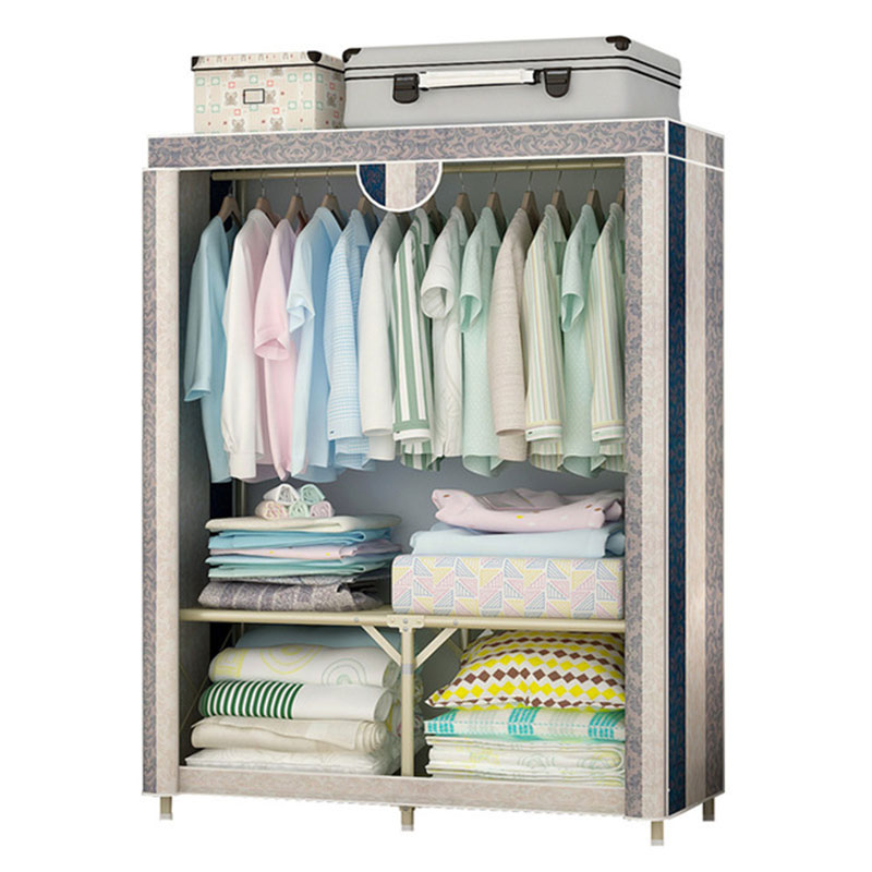 Simple Cloth Wardrobe Free Installation Folding Wardrobe 25 MM Anti-rust Single Steel Frame Bold Reinforcement Fabric Closet