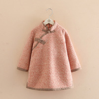 Autumn Winter Chinese Featured Qipao Girls Dresses Long Sleeves Warm Kids Dress Clothes Baby Toddler Children T1/4475DBE