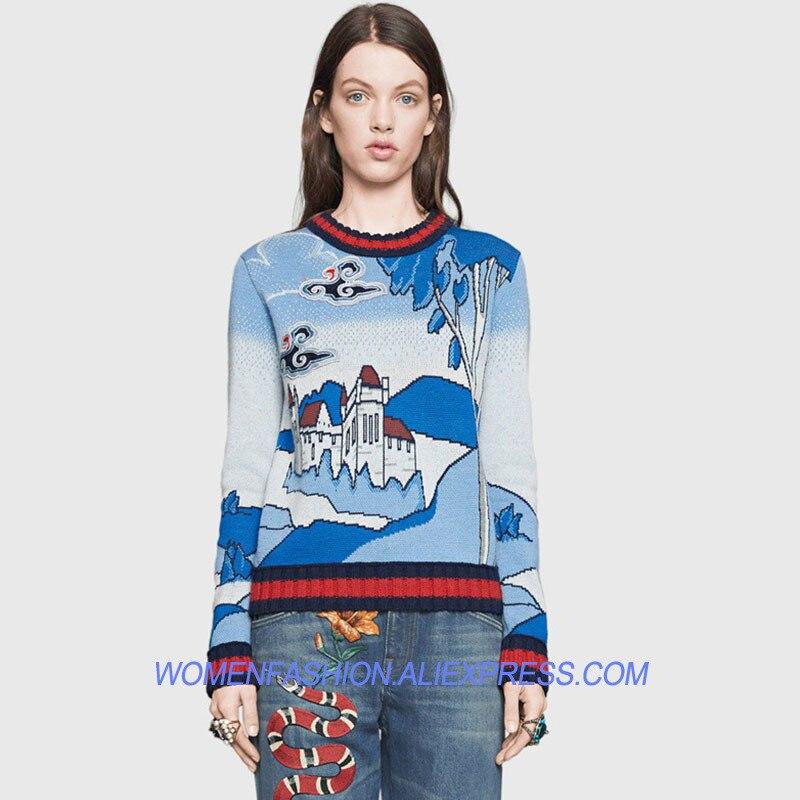 2018 nouvelle piste pull chandails femmes Chic Designer Vintage Europe paysage imprimer à manches longues cachemire rayé tricot pull