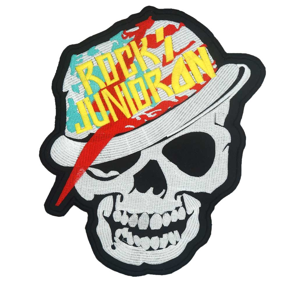 4310f63f ROCK JUNIOR SKULL Back PATCH Embroidered punk biker Patches Clothes  Stickers Apparel Accessories Badge. US 13.55 $