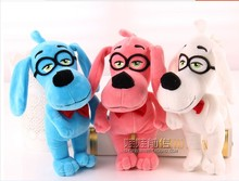 3 pieces a lot Plush dog toys lovely blue, pink and white dog with glasses cute stuff doll birthday gift about 30cm