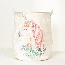 40*50cm Animal Unicorn Laundry Baskets Large Cotton Linen Clothing Storage Bucket Foldable Kids Toy Organizer Laundry Hamper 1pc