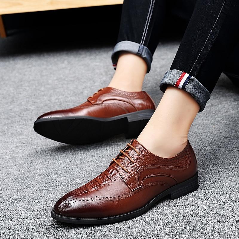 De brown Cuero Negro Formal Calzado Hombres Vestir Los Elegante Genuino Fiesta Hombre Marrón Black Clásico Y Para Boda Oficina Zapatos RqwdHd