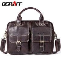 OGRAFF Genuine Leather Bag Men Briefcase Designer Casual Men Handbags Brand Men Messenger Bag Business Cowhide