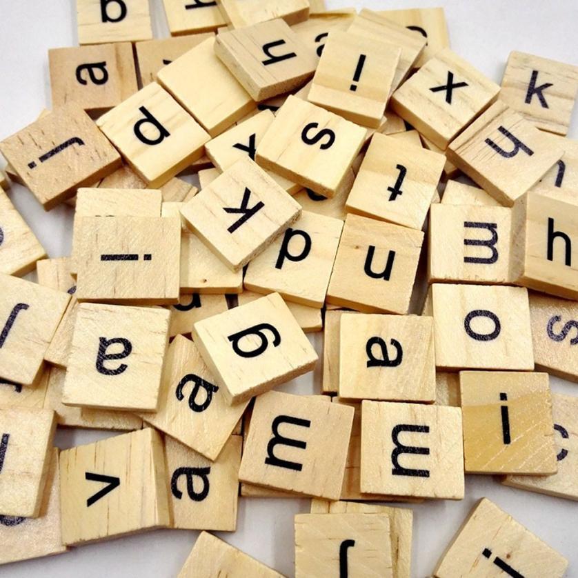 100 Pcs Wooden Alphabet Scrabble Tiles Black Letters Numbers Crafts ...