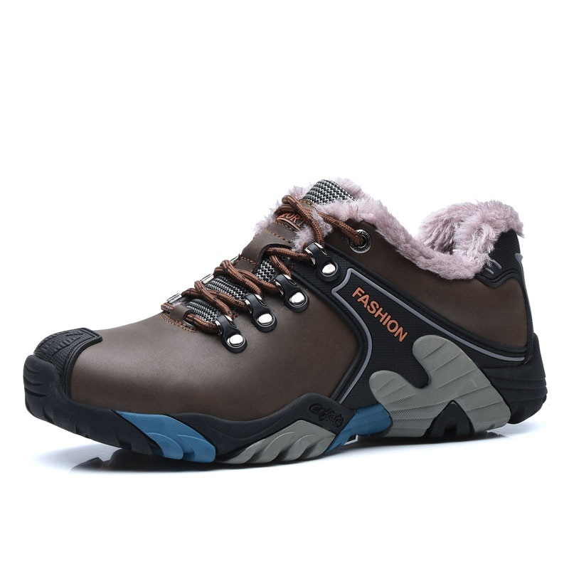 Genuine Leather Outdoor sport hiking Shoes Men Winter Plush hiking Sneakers Men yin qi shi man winter outdoor shoes hiking camping trip high top hiking boots cow leather durable female plush warm outdoor boot