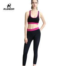 Фотография ALBREDA New Yoga Suit Women Fitness Sport Running Tracksuits Bra/Pants Set 2 pcs Quick dry Elastic Clothing women Gym Sportswear