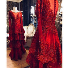 Mermaid prom dresses long sleeve O neck illusion red prom dresses orgenza appliques with 3d flower women vestidos de fiesta