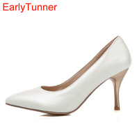ARMOIRE New Glossy Sexy Women Nude Pumps Blue Pink Purple White High Heels Ladies Formal Dress