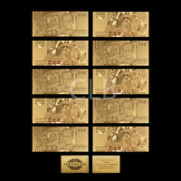Wholesale Gold Leaf 500 Baht Thailand Gold Banknote Fake Currency with Certificate Card for  Business Gift and Collection