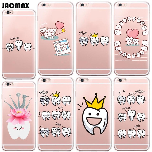 cute cartoon dentist dental crowned tooth phone case for iphone x 6s 6 plus 6s plus