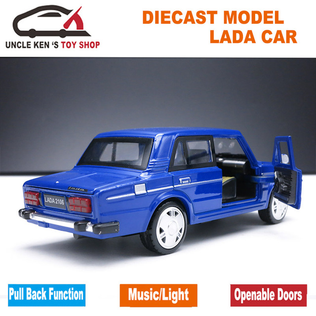 1/32 Diecast Scale Model, Russian Lada Cars Replica, Metal Toy As Boys Gift With Openable Doors/Music/Pull Back Function/Light