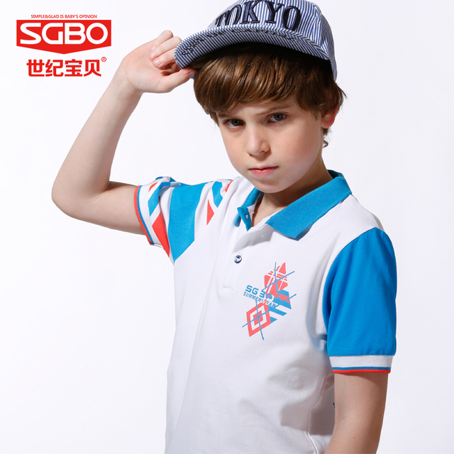 835a7c873 150-165cm England Style Brand T shirt Boys T-shirts Kids Polo Shirts  Children Classic Sport Tees Short Sleeve Clothing 7D3053