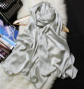 Image 2 - وشاح حريري النساء 100% الحرير الطبيعي يلتف شالات و الأوشحة 180*90 سنتيمتر الحجاب Solider الألوان الشاطئ التستر